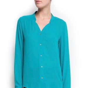 Amazing Loose-Fit Sheer Turquoise Blouse Mango NWT